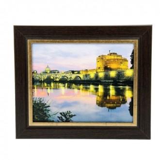 """Ключница """"Крепость Святого Ангела в Риме"""" венге с золотом 32 см × 27 см (под заказ)"""