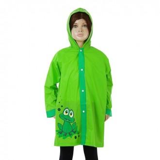 """Дождевик детский """"Зелёный лягушонок"""" на кнопках с капюшоном, р-р S, рост 90-100 см"""