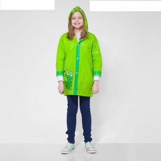 """Дождевик детский """"Зелёный лягушонок"""" на кнопках с капюшоном, р-р М, рост 100-110 см"""
