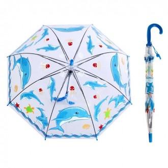 """Зонт детский полуавтомат """"Дельфинчики"""" со свистком (65 см)"""