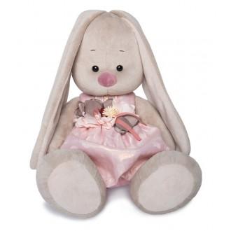 Зайка Ми Большой в розовом платье с цветком (40 см)