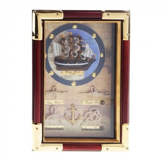 """Ключница """"Корабль в круге"""" с золотистыми углами 7 см × 17 см × 25 см (под заказ)"""