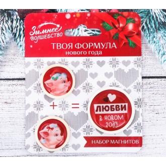 """Набор из 3 магнитов """"Любви в Новом Году!"""""""