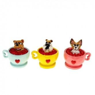 """Копилка """"Собачка в чашке с сердечками"""" в ассортименте 10 см × 8 см × 10,5 см"""