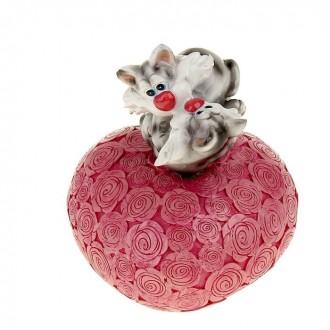 """Копилка """"Поцелуйчик котята на сердце"""" 11,8 см × 11 см × 15,5 см"""