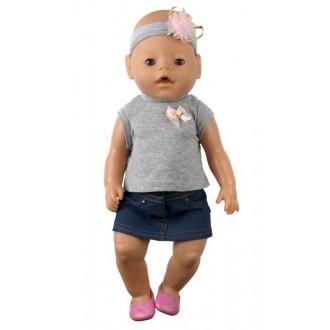"""Одежда для кукол Baby Born """"Футболочка с юбкой и повязка на голову"""" р.38-43"""