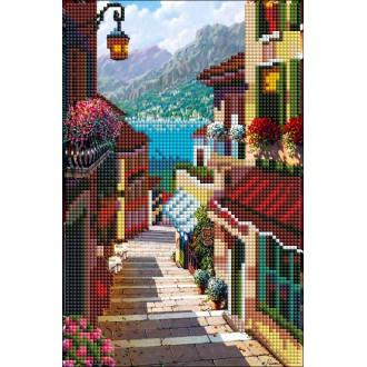 Алмазная мозаика  20х30 27 цветов ТЕПЛЫЙ ГОРОД У МОРЯ