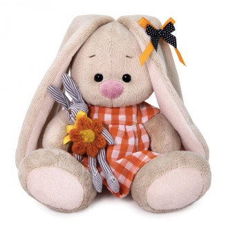 Зайка Ми в оранжевом платье с зайчиком (15 см)