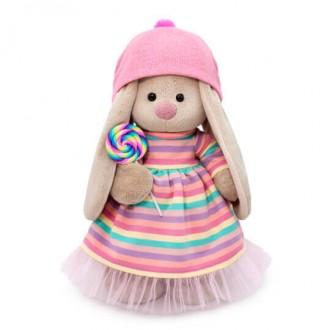 Зайка Ми в полосатом платье с леденцом (25 см)