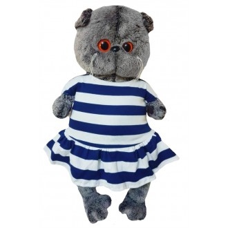 Платье трикотажное в бело-синюю полоску с якорем на грудке