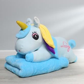 Мягкая игрушка «Единорог», с пледом, цвет голубой