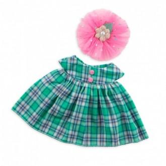 Платье зеленое в клетку BudiBasa для Зайки Ми 23 cм