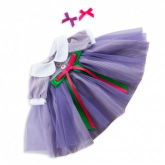 Платье лиловое в полоску BudiBasa для Зайки Ми 25 см