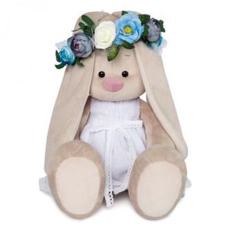 Зайка Ми Большой в белом платье и веночке (40 см)