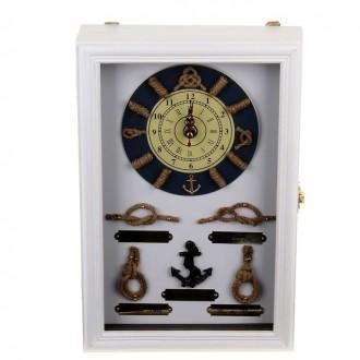 """Ключница с часами """"Корабельная"""" белая 20 см × 30 см"""