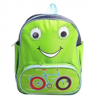Рюкзак  Велосипед 26*10*33 см, отдел на молнии, 3 кармана, черно зелёный (под заказ)