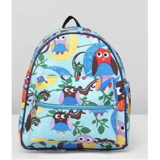 Рюкзак Совы 21*11*27см  голубой