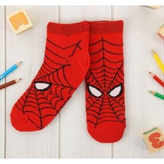 """Носки детские короткие """"Человек-паук"""", красный, 16-18 см, 4-6 лет, 80% хлопок, 17% полиамид, 3% эластан"""