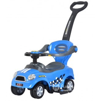 Машинка-каталка Chi Lok Bo 3 в 1 с музыкальной панелью,цвет голубой