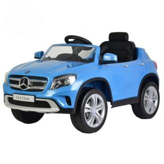 Детский электромобиль Mercedes-Benz GLA 12V с открывающимися дверьми голубой