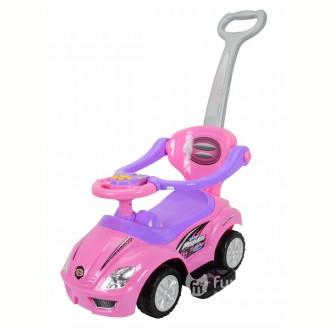 Машинка-каталка Deluxe Mega Car 3в1 с музыкальной панелью,цвет розовый