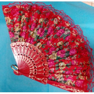 Веер текстильный с кружевом красный